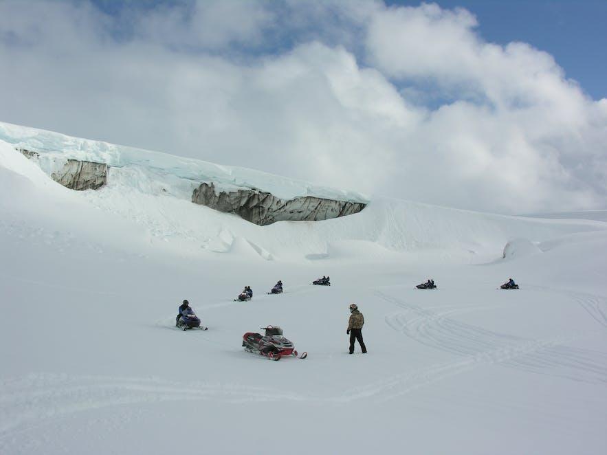 Snowmobile tour on Langjökull glacier in Iceland