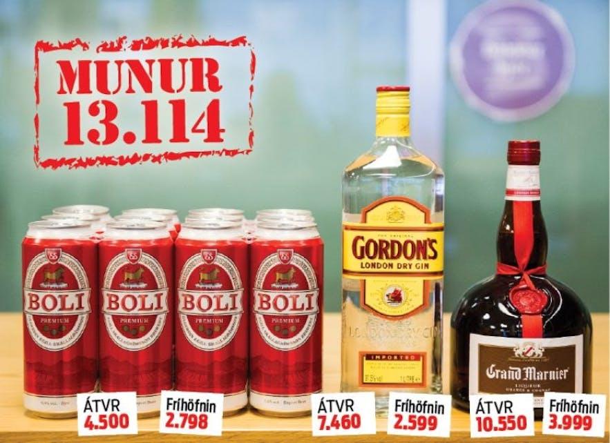 ÁTVR와 면세점 간의 가격차이 아이슬란드 술