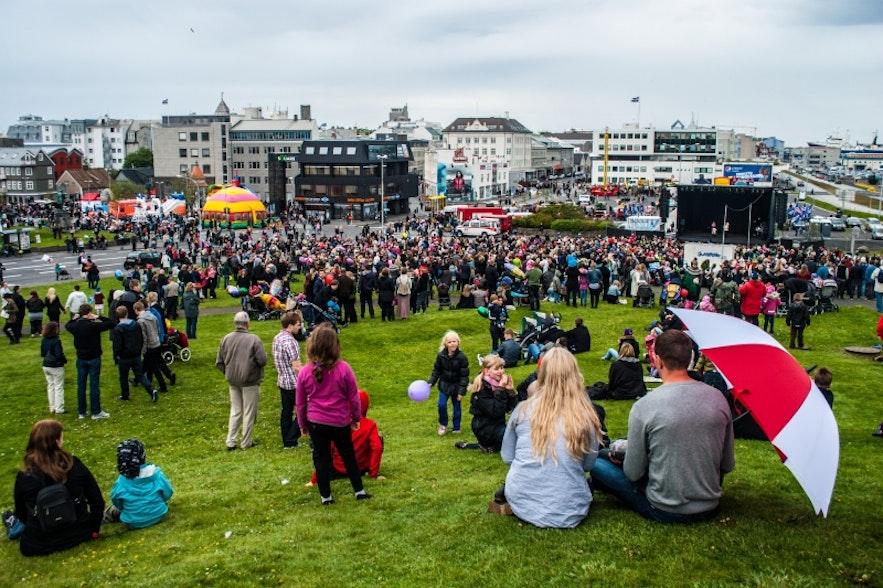 Celebrations downtown Reykjavík on 17th of June