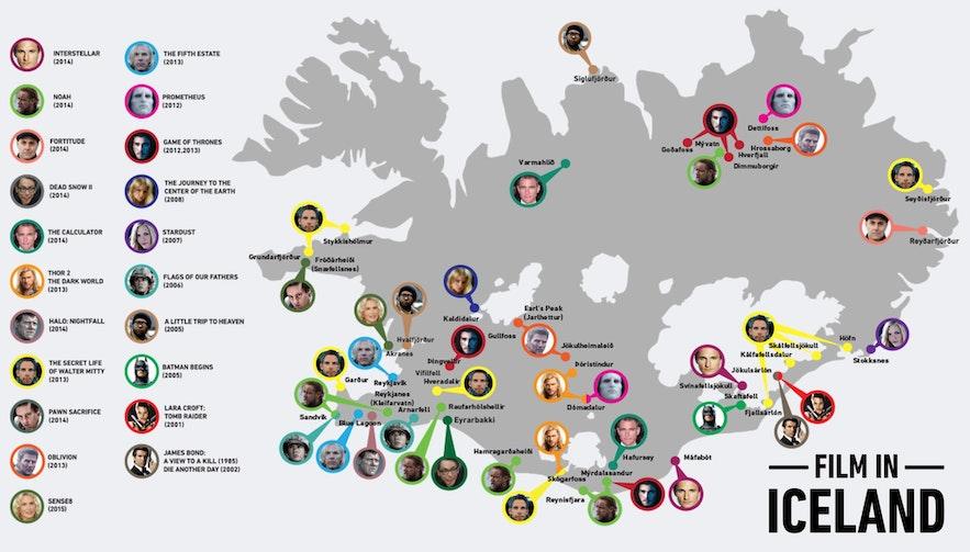 Mapa, gdzie kręcono filmy na Islandii