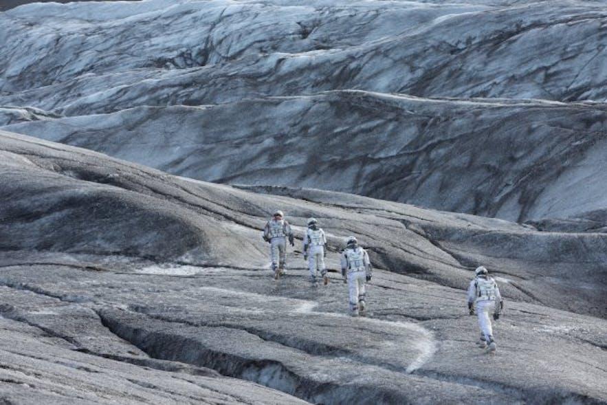 Een scène uit Interstellar, opgenomen op de gletsjertong Svínafellsjökull