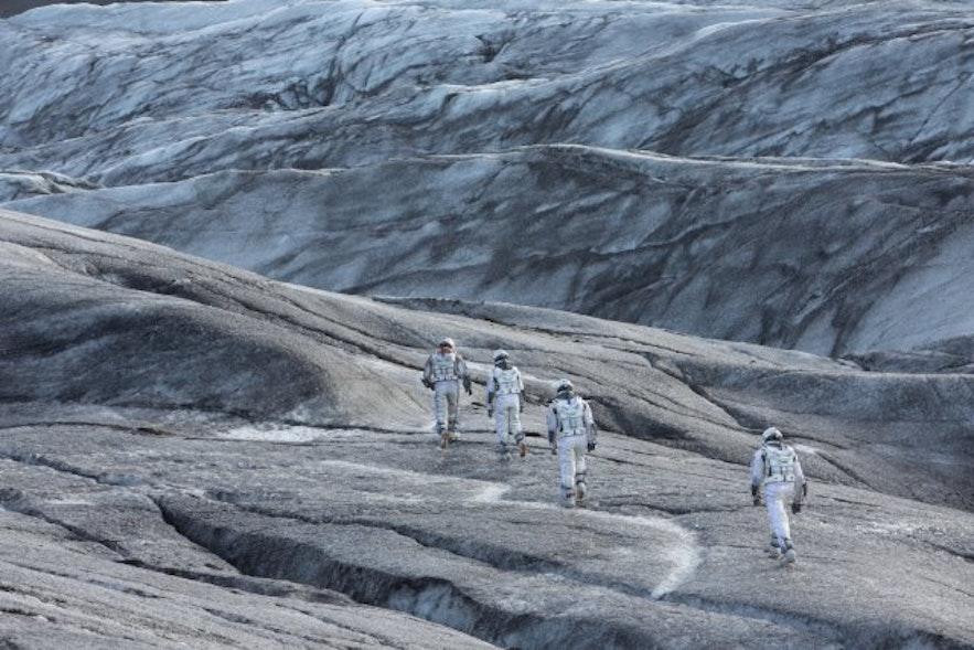 En scene fra Interstellar, taget på Svínafellsjökull-gletsjertungen