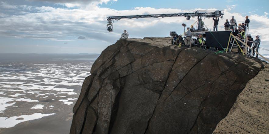 การถ่ายทำอุบัติการโลกลืมที่เอิร์ล พีคในประเทศไอซ์แลนด์