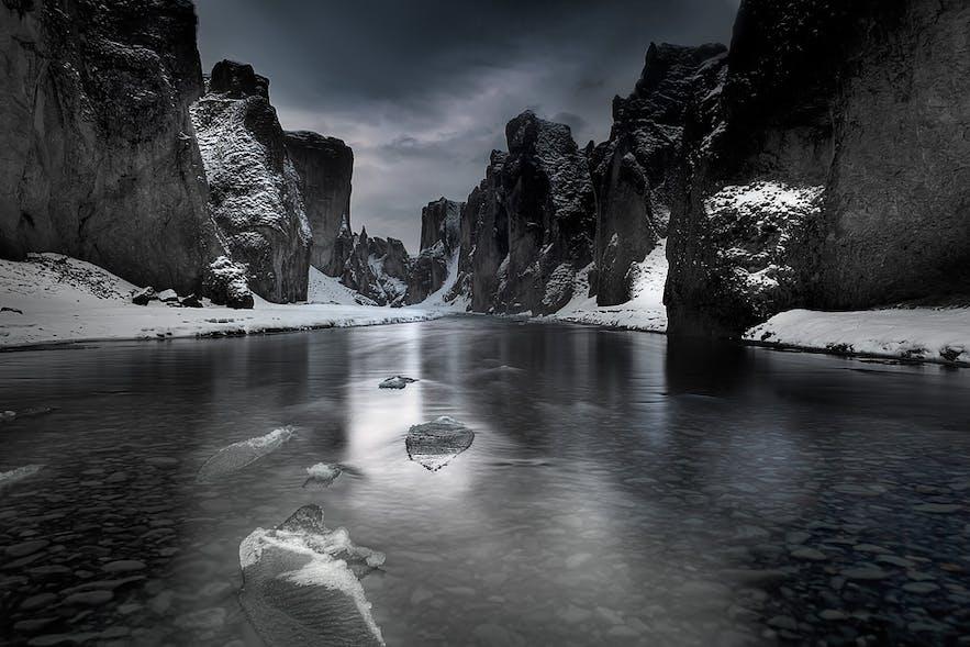 Fjaðrárgljúfur canyon during winter