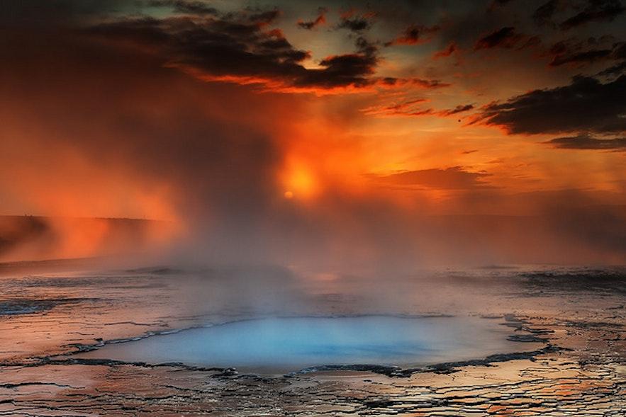 Hveravellir, jeden z obszarów geotermalnych na Islandii