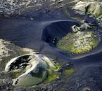 The massive Lakagígar craters in Iceland seen from above in Vatnajökull National Park.