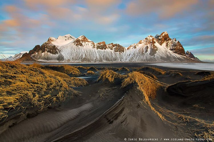 Vestrahorn in winter, a dramatic and stark feature in south-east Iceland.