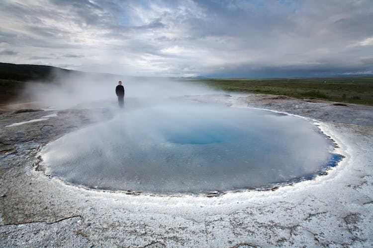 In the Geysir geothermal area, you'll feel a thrilling moment of anticipation right before the geyser Strokkur erupts
