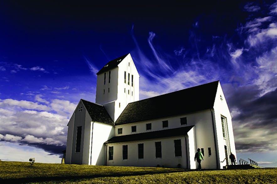 De kerk van Skálholt in IJsland