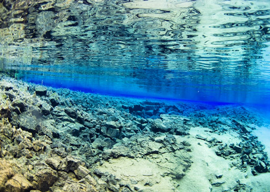 Crystal clear water in Silfra diving spot!