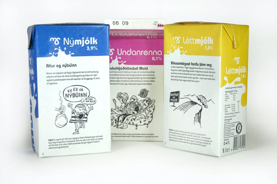 Icelandic language on milk cartons