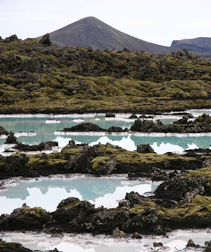 ブルーラグーンの周りは溶岩と苔の大地が広がり、異世界っぽい