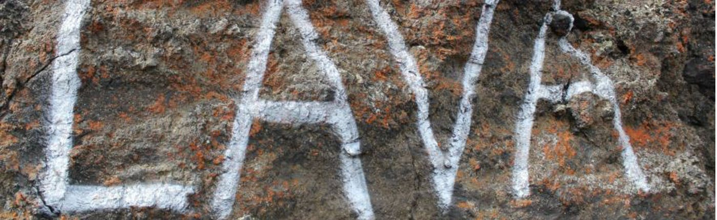 The word 'lava' spraypainted on lava