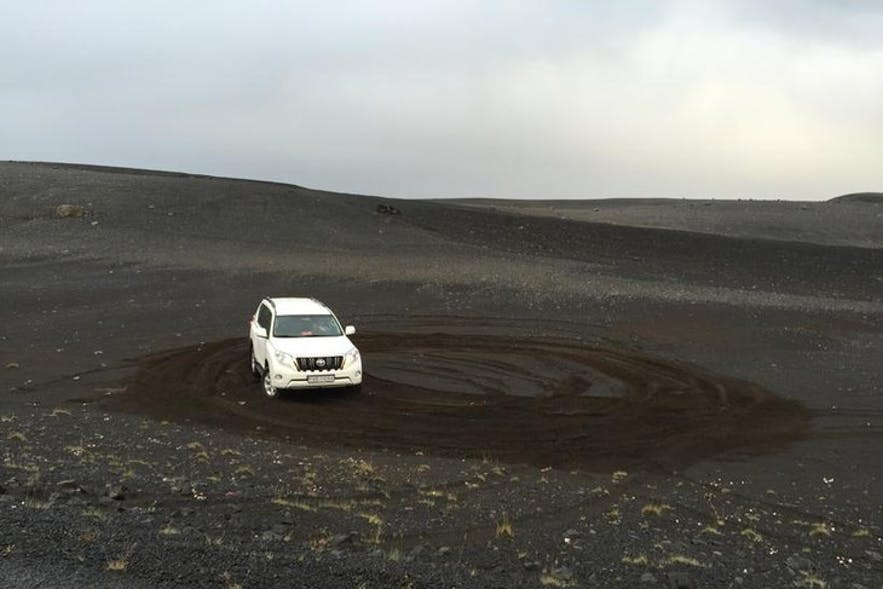 Ruined land because of off-road driving in Iceland