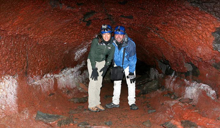 The colouration within Leiðarendi cave on the Reykjanes Peninsula is intense and bright due to the elements brought up in its formation.