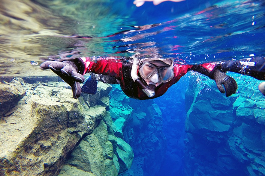 Snorkelling is possible in December in Iceland