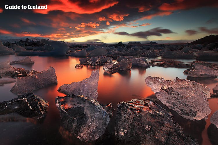 Sundown over the crown jewel of the Iceland.