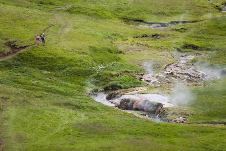 레이캬달루르 계곡의 온천수