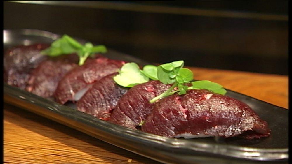 Raw minke whale sushi