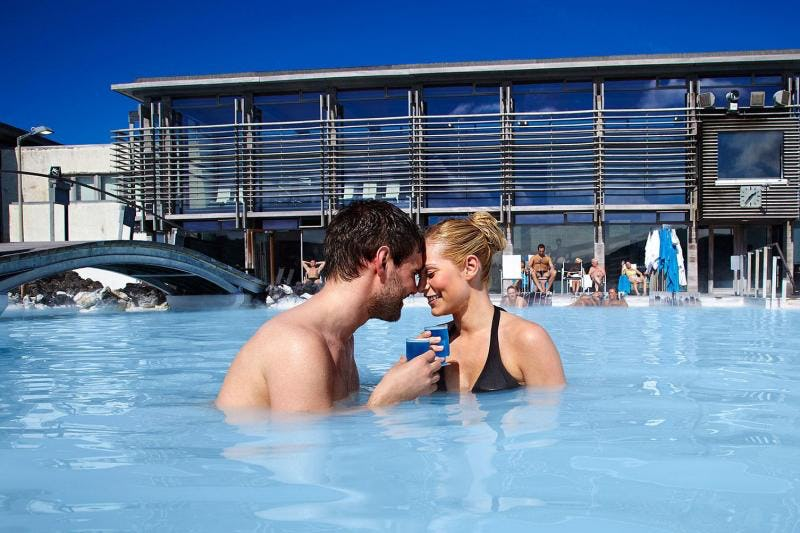 Connect with your partner at the Blue Lagoon Spa on the Reykjanes Peninsula.