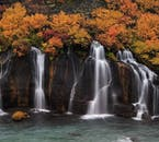 The stunning Hraunfossar waterfalls, whispering in autumn's embrace.