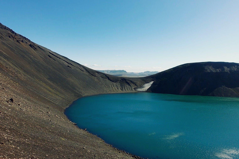 冰岛内陆高地Hnausapollur火山湖