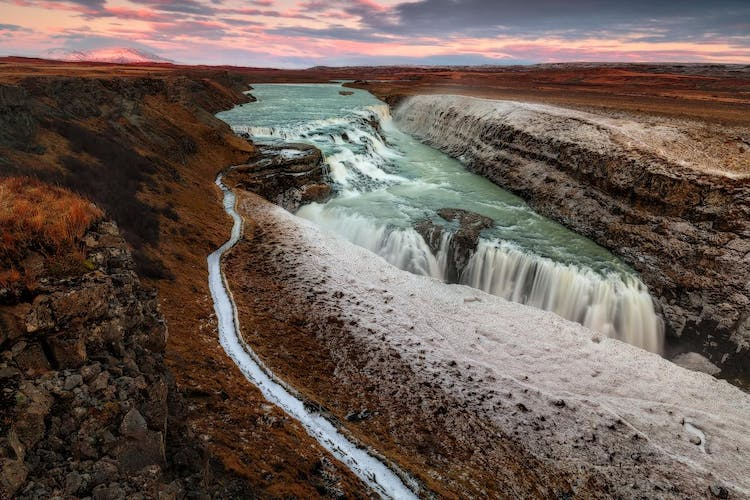 Gullfoss is the prize and joy of south west Iceland, a staggering natural features that drops a mighty 32 metres.