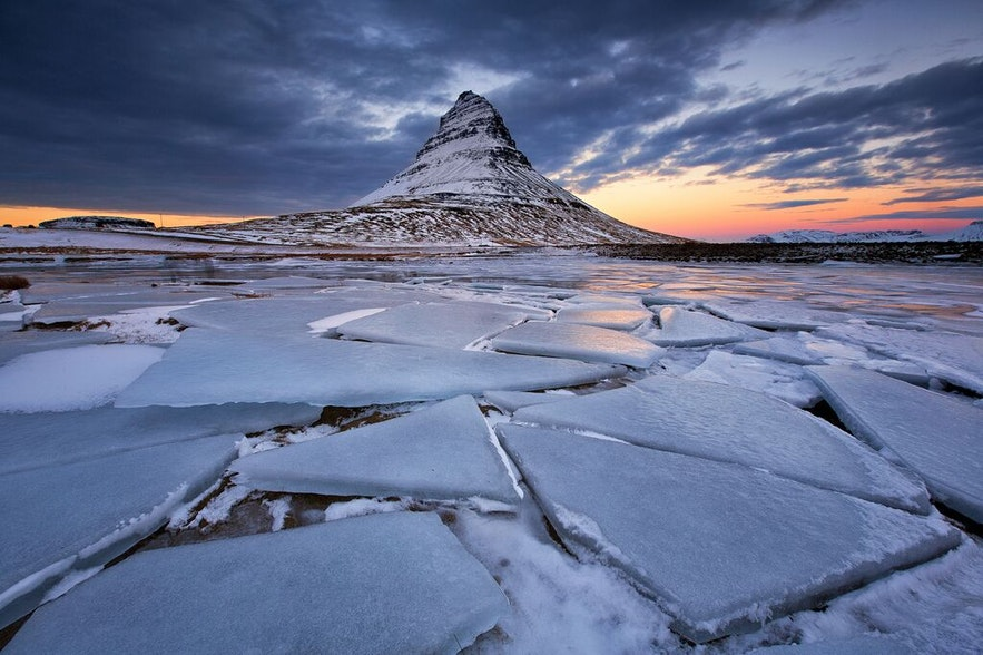 Mount Kirkjufell, the most photographed mountain in Iceland.