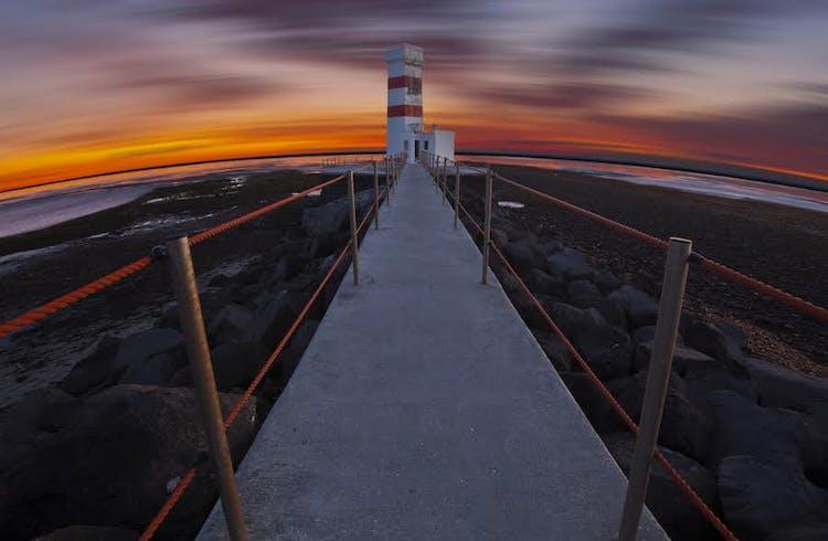The oldest lighthouse in Iceland is on the Reykjanes Peninsula, and named Reykjanesvíti.