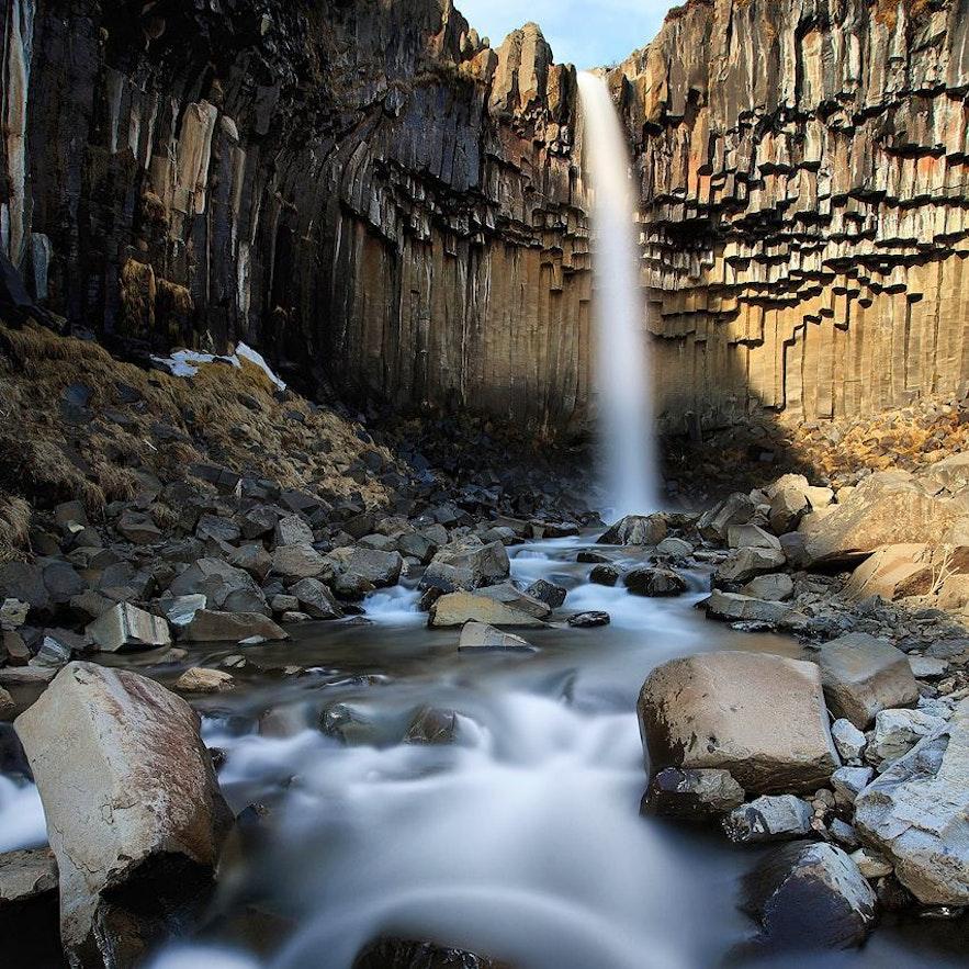 冬季的冰岛斯瓦蒂瀑布