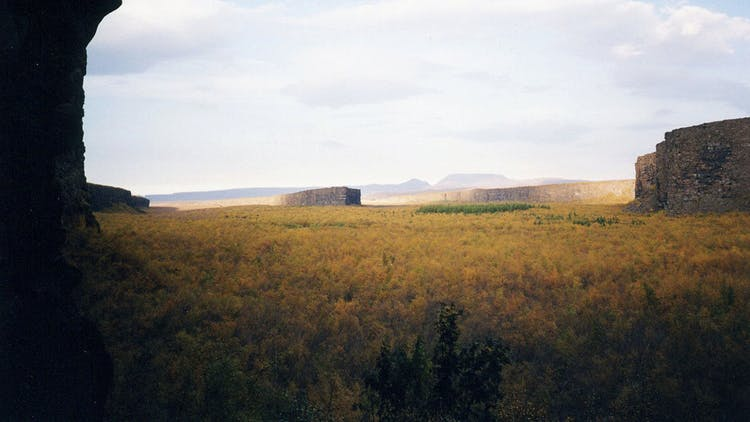 North Iceland has a canyon called Ásbyrgi, said to have been formed by the stomping hoof of the god Oðin's horse.