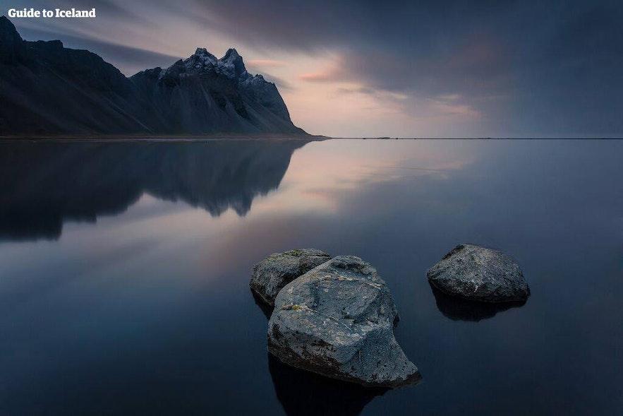 The mountain Vestrahorn between fjords Skardsfjordur and Papafjordur