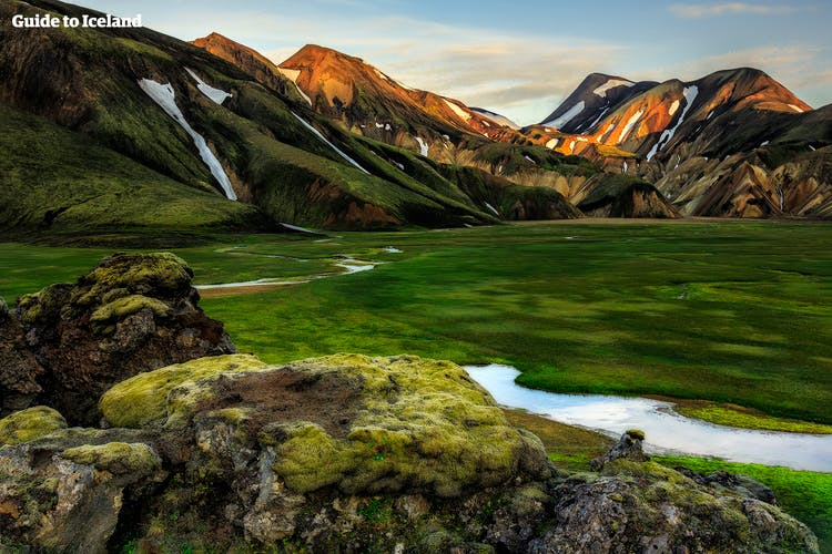 Emerald moss crawls across the lava fields of the Landmannalaugar Highland Reserve, contrasting dramatically with the rhyolite mountains and black-sand expanses.