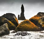 The basalt rock formations of the black beach Reynisfjara are a prime example of Iceland's volcanic terrain.