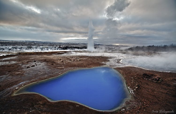 Haukadalur Geothermal Area is the perfect place in the winter months to understand why Iceland is known as the land of 'Ice and Fire'.
