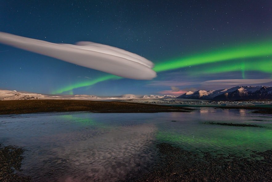 Northern Lights over Jökulsárlón glacier lagoon, found along the South Coast of Iceland.