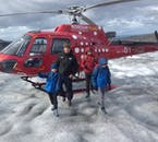 Children too young for glacier hiking tours in Iceland can still walk on them on this helicopter tour.