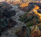 The Landmannalaugar region in the Highlands of Iceland are dotted with rhyolite mountains and beautiful glacier rivers.