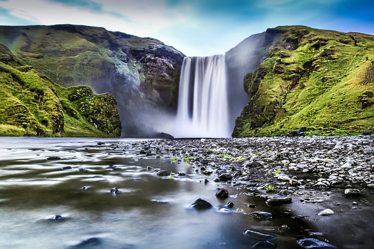 The great waterfall Skógafoss on the South Coast of Iceland is one of the main attractions of the first day of this amazing tour.