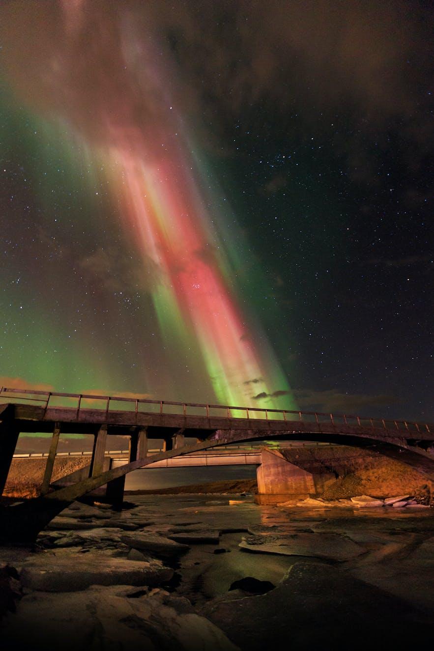 Northern Lights over the river Laxá in Hvalfjordur