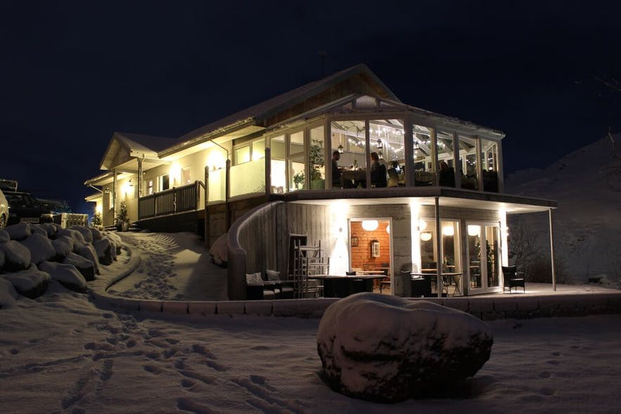 Frost and Fire hotel in Iceland at night