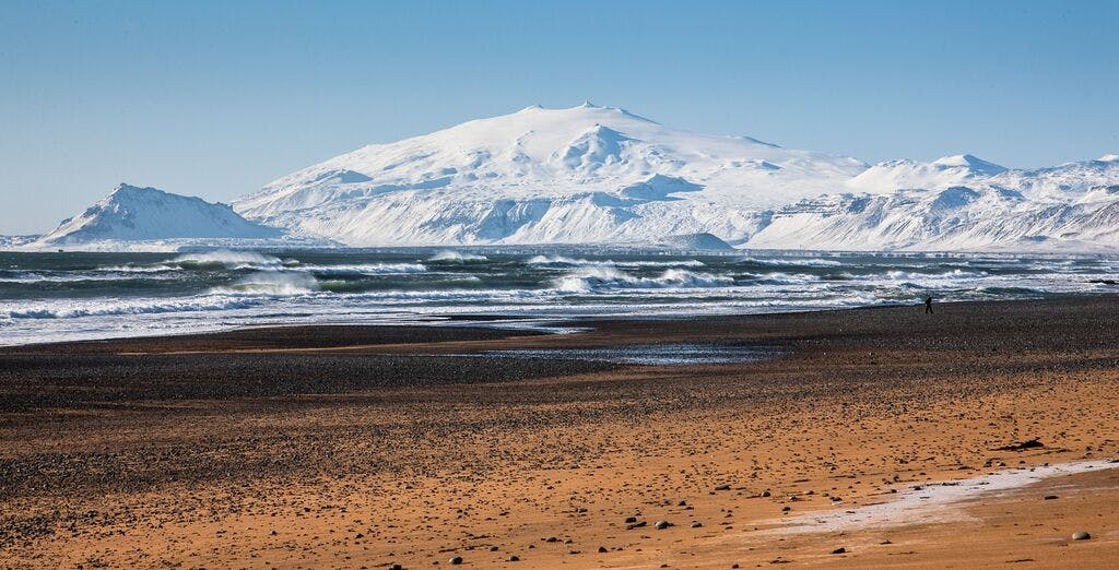 View from Hotel Búðir's beach to Snæfellsjökull glacier in wintertime