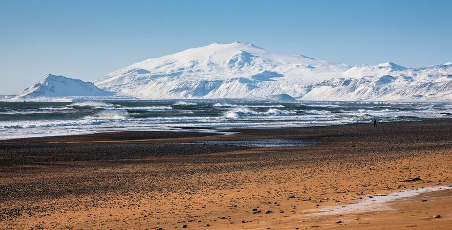 View from Hotel Búðir's beach to Snæfellsjökull glacier in wintertime