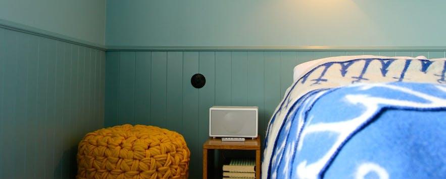 One of Hótel Egilsen's bright rooms
