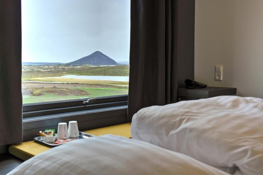 Vue de l'Hotel Laxá en Islande