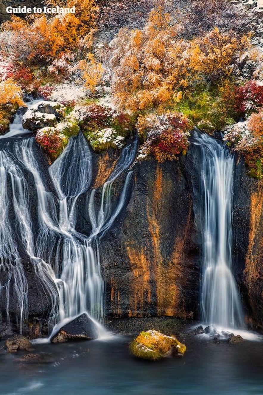 Cascades Hraunfossar en automne en Islande