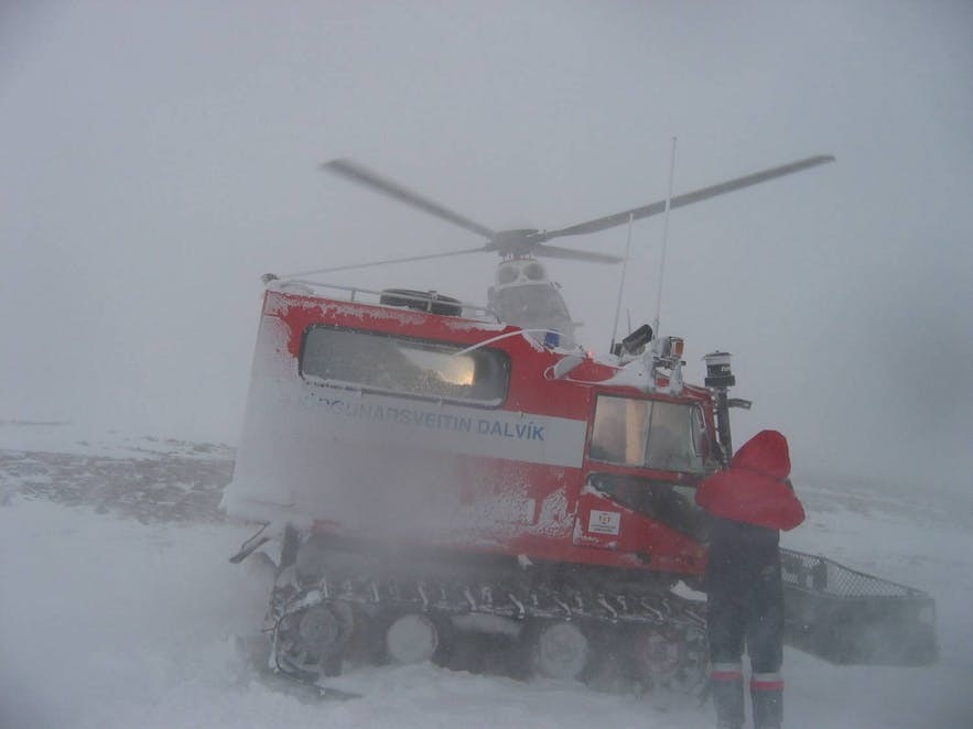 An Icelandic rescue team in action in a snowstorm