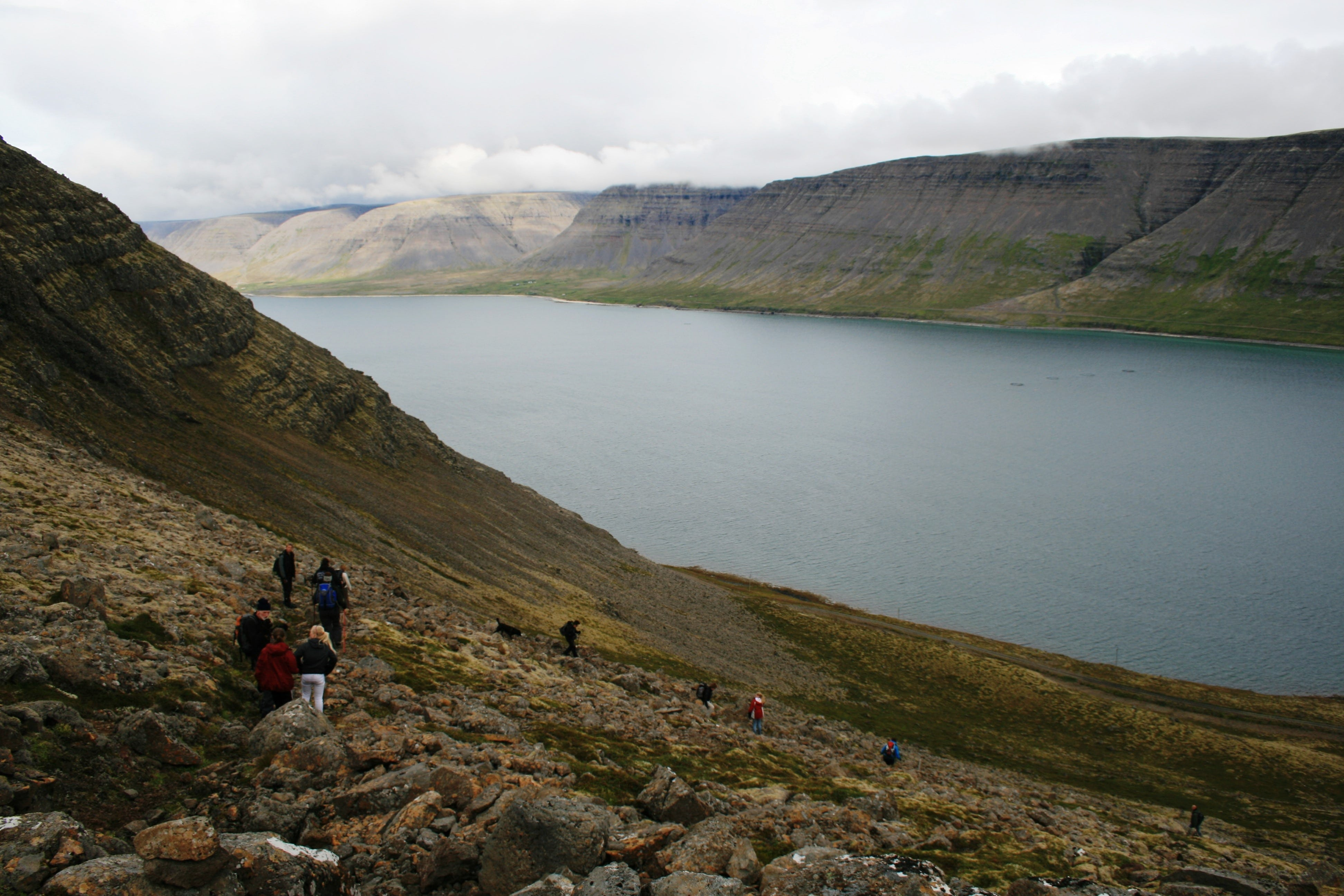 When hiking between the two western fjords of Patreksfjörður and Tálknafjörður, you are guaranteed stunning views of steep mountains rising above the ocean.