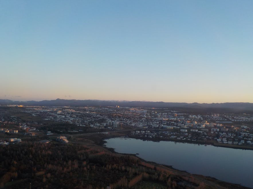View over Reykjavík city from a helicopter