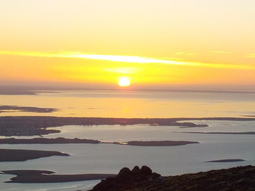 Sunset over Faxaflói Bay and Reykjavík